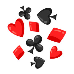 Set of casino red and black card suits falling down