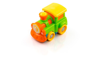 Toy train plastic isolated on white, Train toy for kid.