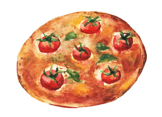 Margarita pizza. Handmade watercolor painting illustration on a white paper art background.