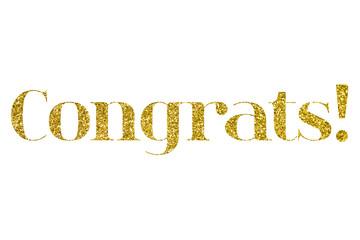 congrats gold glitter message