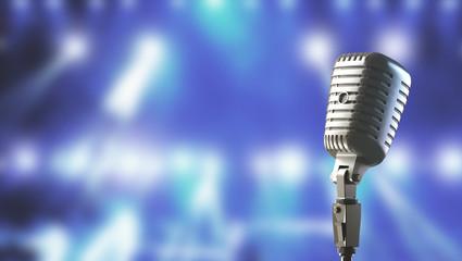Microfono vintage con sfondo palcoscenico render