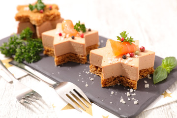 Recess Fitting Appetizer christmas canape with gingerbread and foie gras