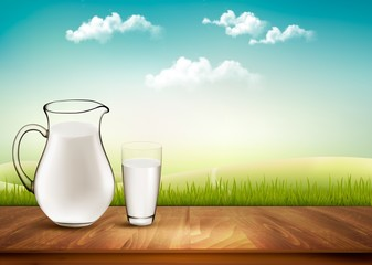 Vector Design Background With Milk In Jug And Glass.