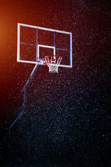Basketball houp on black arena background