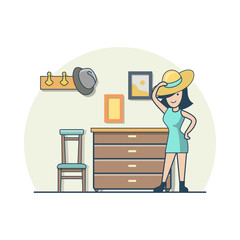 Linear Flat woman try on hat in hallway vector. Casual life