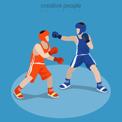 Flat isometric Boxing Players Fighting vector Sportsman 3d