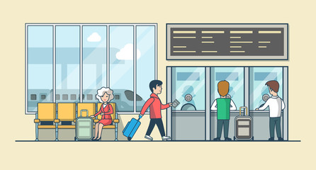 Linear Flat people on railway station hall vector illustration