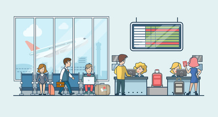 Linear Flat  people on airport waiting hall vector illustration