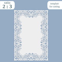 Greeting card with openwork border,  rectangular paper doily, template for cutting, wedding invitation, decorative plate is laser cut, frame with lace edge, vector illustrations.