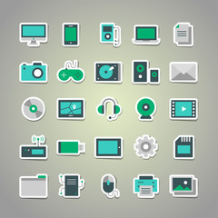 Set of 25 vector stickers with blue-green flat multimedia icons