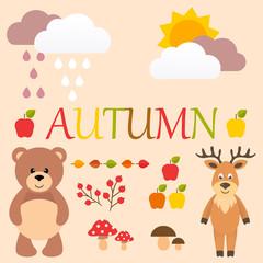 cartoon autumn set with bear and deer