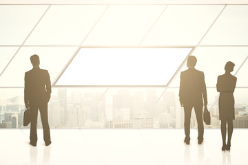 Businesspeople silhouettes and blank banner