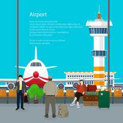 Waiting Room in Airport and Text , View on Airplane and Control Tower through the Window from a Waiting Room , Travel Concept, Flat Design, Vector Illustration