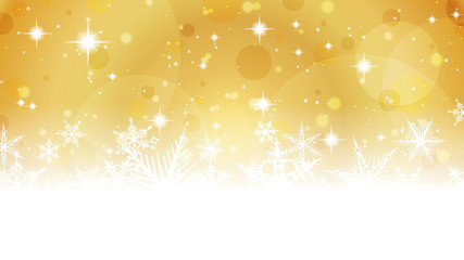 Gold Christmas Background with Snowflakes