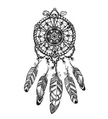 Indian dream catcher with ethnic ornaments. Vector illustration isolated on white background