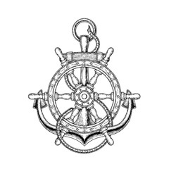 Vector illustration of nautical steering wheel and anchor