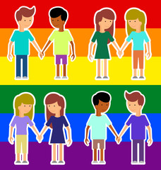 Love marriage couple of two women or girls and two men. Same-sex marriage. Vector illustration, image LGBT International flag (lesbian, gay, bisexual). Flat style.