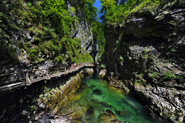 The famous Vintgar gorge with wooden path near lake Bled, Slovenia