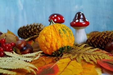 autumn decoration for Halloween - soft focus