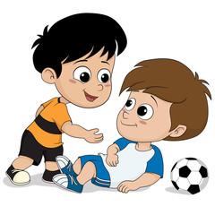 kids show good sportsmanship during soccer match.