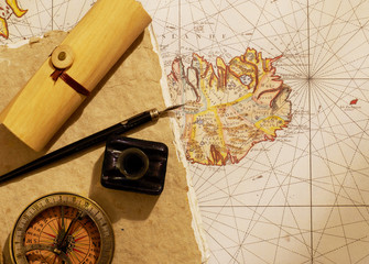 Captain's journal and compass