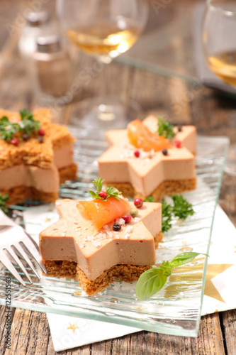 Christmas canape with gingerbread and foie gras stock for Christmas canape