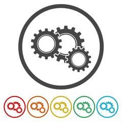 Gears icon, vector illustration. Flat design style