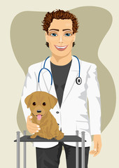 veterinarian doctor making a check-up of Labrador puppy