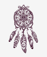 Ethnic dream catcher with feathers. American Indian style. Vector illustration