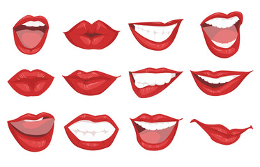 Set realistic woman red lips icons isolated on white background. Gestures lips vector illustration.