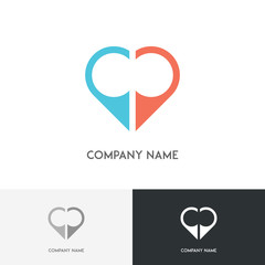 Love logo - two position symbols make heart shape on the white background