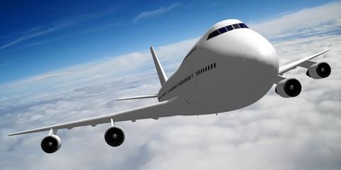3D passenger jet plane flying in the air - great for topics like aviation, flight, transportation etc.