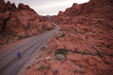 Trail running in Valley of Fire State Park. Las Vegas, Nevada.