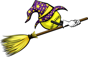 Softball with a wizard hat riding a witch's broom for Halloween.