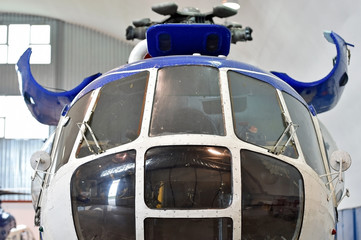 Helicopter repair inside factory