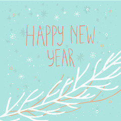Happy new year  text on a winter background with snow and snowflakes. Greeting card template.Merry Christmas  poster with quote. T-shirt design, card design or home decor element. Vector