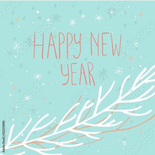 happy new year text on a winter background with snow and snowflakes greeting card template