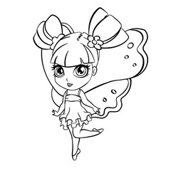 vector elf fairy girl coloring page