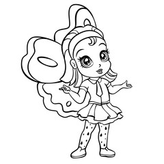 vector elf fairy coloring page