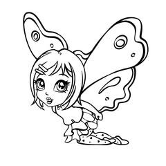 vector elf fairy coloring page