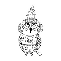 Cute doodle owl with cake on the head. Young lady cartoon chef style.