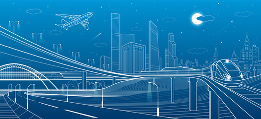 Car overpass, city infrastructure, urban plot, plane takes off, train move on the bridge, transport illustration, white lines on blue background, vector design art