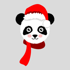 Cartoon panda wearing Santa hat. Vector Illustration