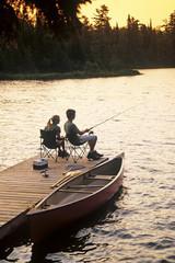 Fishing, Lyons Lake, Whiteshell Provincial Park, Manitoba, Canada.