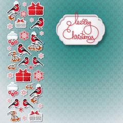 Bullfinch, gift, snowflake seamless background.