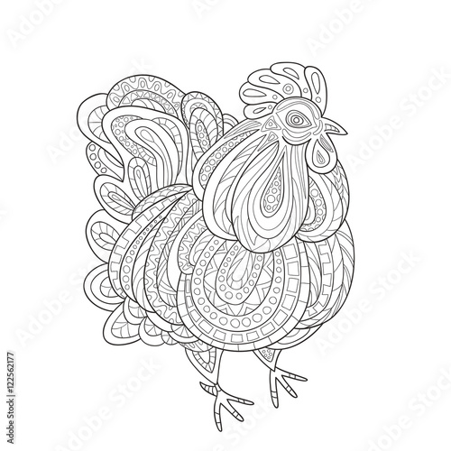 chinese new year 2017 coloring pages Rooster zentangle on white background.The logo for the New Year  chinese new year 2017 coloring pages