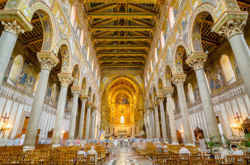 Interior of the Cathedral of Montreale or Duomo di Monreale near Palermo, Sicily, Italy. Wall mural