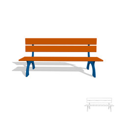 Park bench. 3d Vector illustration.Front view.