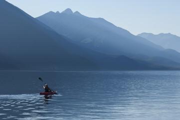 Kayaking Slocan Lake at New Denver, British Columbia, Canada