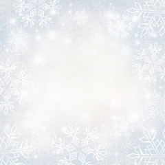 Abstract Christmas background with snowflakes and place for text. Good idea for greeting cards, invitations. Silver background. All elements, textures, etc. are individual objects. EPS-10.